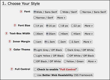 choose font sizes, colors and other features of Readable