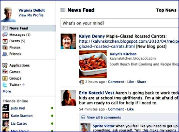 Virginia's Facebook home page