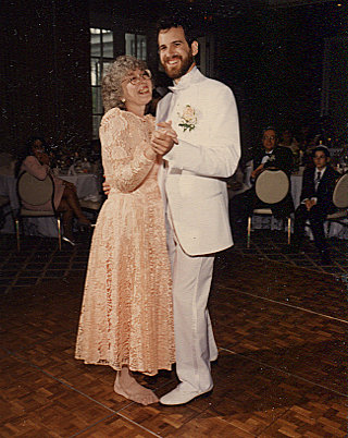 Lyn Burnstine and son at his wedding