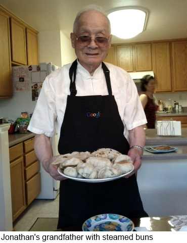 Jon's grandfather with steamed buns