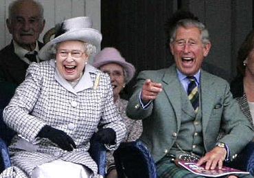 Queen Elizabeth II and Prince Charles laughing