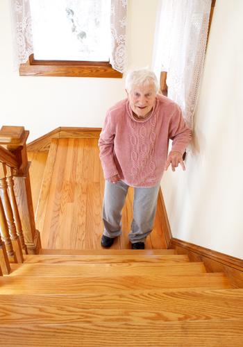 Elder at stairs