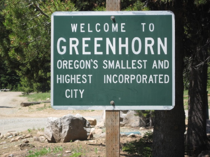Greenhorn oregon sign